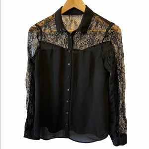 DYNAMITE Black Sheer Lace Top Light Button Up Top